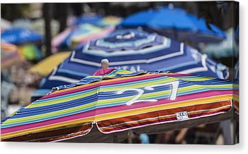The Buffet Canvas Print - Beach Umbrella Rainbow 2 by Scott Campbell