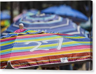The Buffet Canvas Print - Beach Umbrella Rainbow 4 by Scott Campbell