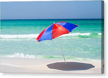 Beach Umbrella Canvas Print by Shelby  Young