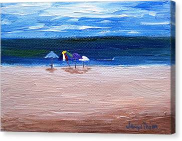 Canvas Print featuring the painting Beach Umbrellas by Jamie Frier