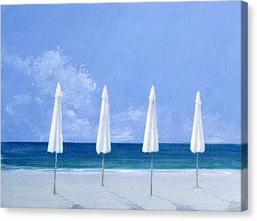 Beach Umbrellas Canvas Print by Lincoln Seligman