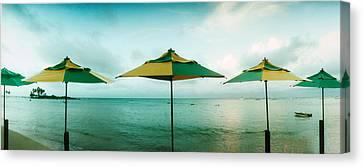 Beach Umbrellas, Morro De Sao Paulo Canvas Print by Panoramic Images