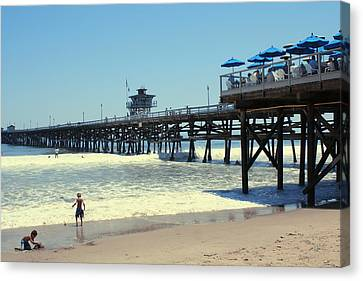 Beach View With Pier 1 Canvas Print by Ben and Raisa Gertsberg