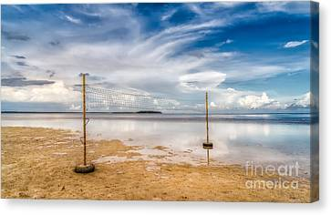 Beach Volleyball Canvas Print by Adrian Evans