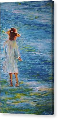 Canvas Print featuring the painting Beach Walker by John Scates