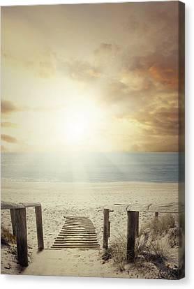 Beach Walkway Canvas Print by Les Cunliffe