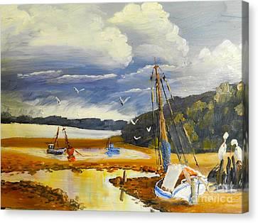 Beached Boat And Fishing Boat At Gippsland Lake Canvas Print