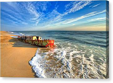 Beached Boat Morning - Outer Banks Canvas Print by Dan Carmichael