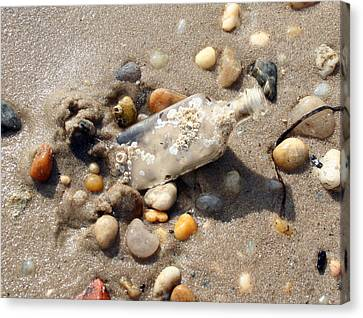 Canvas Print featuring the photograph Beached Bottle by Karen Silvestri