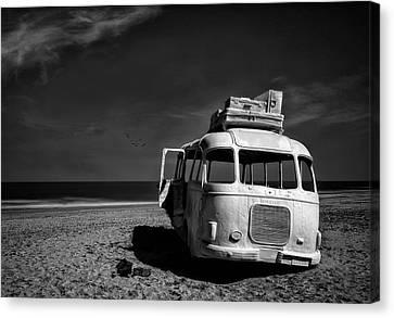 Beached Bus Canvas Print by Yvette Depaepe