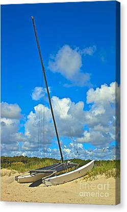 Beached Catamaran  Canvas Print