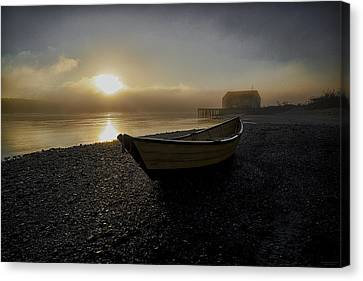 Canvas Print featuring the photograph Beached Dory In Lifting Fog  by Marty Saccone