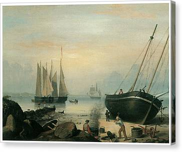Beached For Repairs Duncan's Point Gloucester Canvas Print by Fitz Hugh Lane