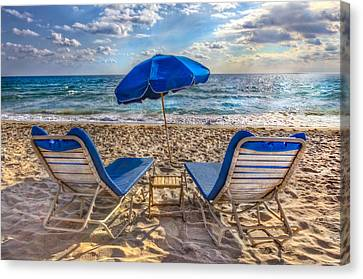 Adirondack Chairs On The Beach Canvas Print - Beachtime Blues by Debra and Dave Vanderlaan