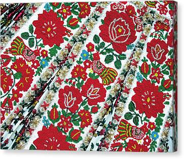 Hungarian Beaded Emboidery From Kalotaszeg Photograph Print Canvas Print by Andrea Lazar