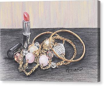 Gold Chain Canvas Print - Beads And Bangles by Lucy Hayward