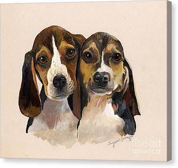 Beagle Babies Canvas Print by Suzanne Schaefer