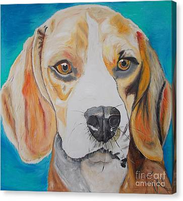 Canvas Print featuring the painting Beagle by PainterArtist FIN
