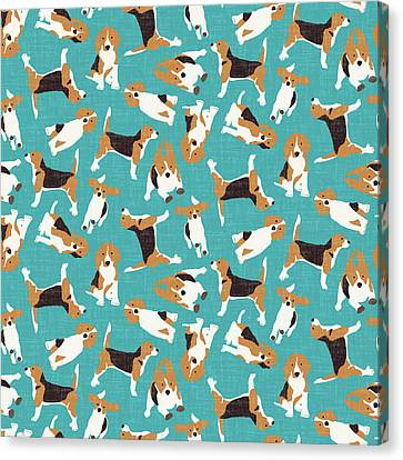 Beagle Scatter Blue Canvas Print