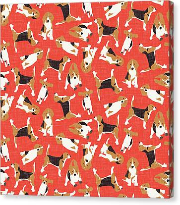 Pattern Canvas Print - Beagle Scatter Coral Red by Sharon Turner