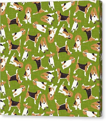 Beagle Scatter Green Canvas Print by Sharon Turner