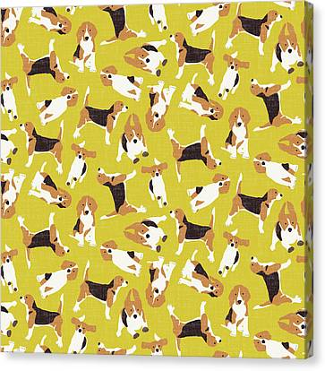 Texture Canvas Print - Beagle Scatter Yellow by Sharon Turner