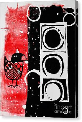 Beak In Red And Black Canvas Print by Cynthia Lagoudakis