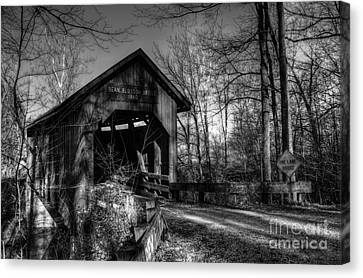 Indiana Landscapes Canvas Print - Bean Blossom Bridge Bw by Mel Steinhauer