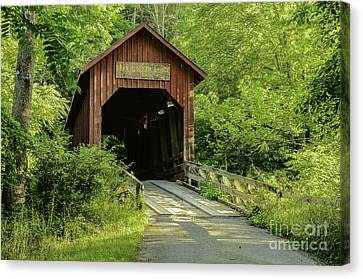 Bean Blossom Covered Bridge Canvas Print by Mary Carol Story