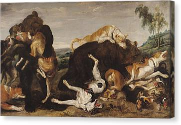 Bear Hunt Or, Battle Between Dogs And Bears Oil On Canvas Canvas Print