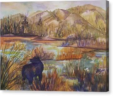 Bear In The Slough Canvas Print by Ellen Levinson