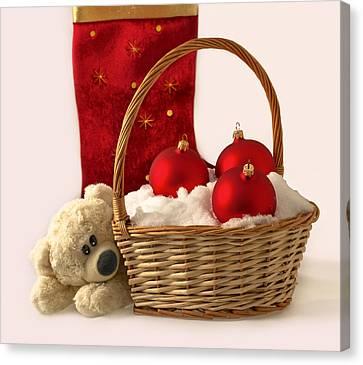 Bear Is Near Wicker With Christmas Balls  Canvas Print by Sviatlana Kandybovich