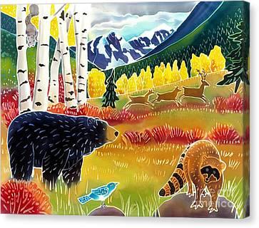 Bear Meets Raccoon Canvas Print by Harriet Peck Taylor