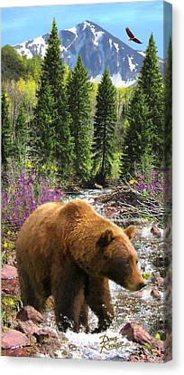 Canvas Print featuring the painting Bear Necessities by Doug Kreuger