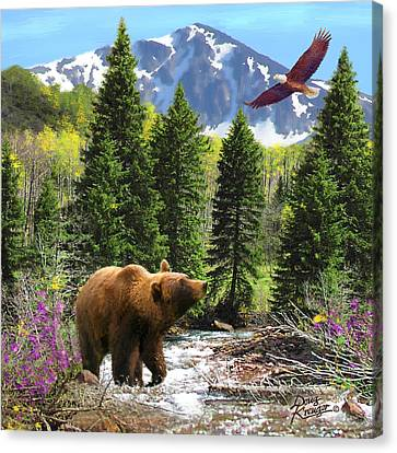Canvas Print featuring the painting Bear Necessities Ill by Doug Kreuger
