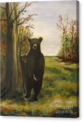 Canvas Print featuring the painting Bear Necessity by Laurie Lundquist