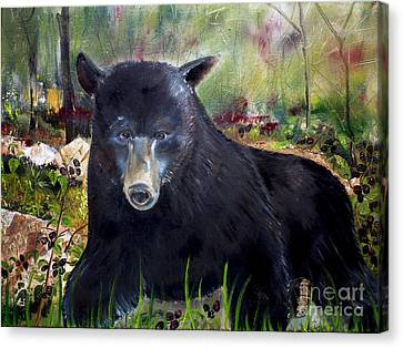 Canvas Print featuring the painting Bear Painting - Blackberry Patch - Wildlife by Jan Dappen
