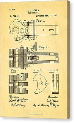 Beard Railroad Coupler Patent Art 1897 Canvas Print by Ian Monk