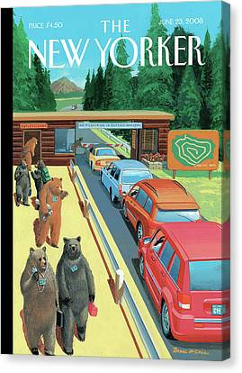 Bears Leaving Work At A National Park Canvas Print by Bruce McCall