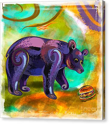 Bears Love Burger Canvas Print by Bedros Awak