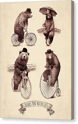 Bears On Bicycles Canvas Print by Eric Fan