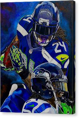 Marshawn Lynch Beast Mode Canvas Print by Chris Eckley