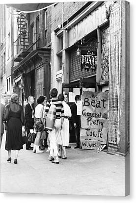 Counter-culture Canvas Print - Beat Generation At West Village Coffee by Dick Hanley