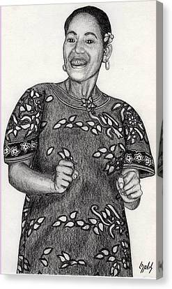 Canvas Print featuring the drawing Beat Woman by Lew Davis