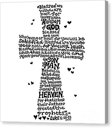 Beatitudes Cross Canvas Print