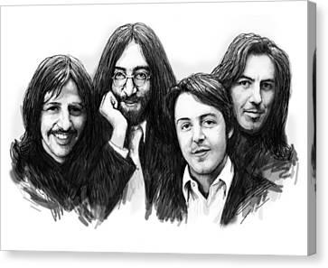 Beatles Blackwhite Drawing Sketch Poster Canvas Print by Kim Wang