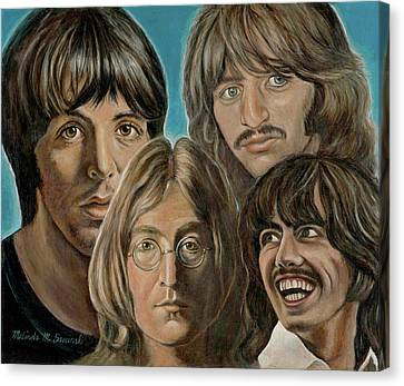 Canvas Print featuring the painting Beatles The Fab Four by Melinda Saminski