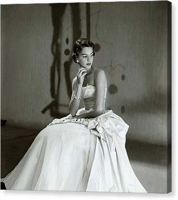Beatrice Wagstaff Wearing A Ceil Chapman Dress Canvas Print by Horst P. Horst