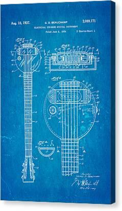 Beauchamp First Electric Guitar Patent Art 1937 Blueprint Canvas Print by Ian Monk