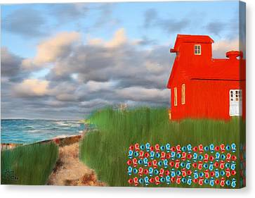 Beautification Of A Lighthouse Canvas Print by Bruce Nutting